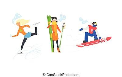 activités, hiver, figure, ensemble, vacances, illustration, sports, patinage, vecteur, ski, snowboarding