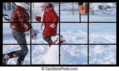 activités, hiver, hd, montage: