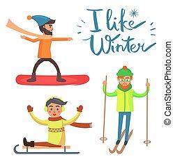 activités, hiver, vecteur, aimer, illustration