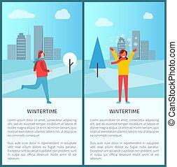 activités, hiver, vecteur, parc, illustration