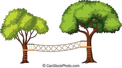 activités, isolé, aventure, arbre