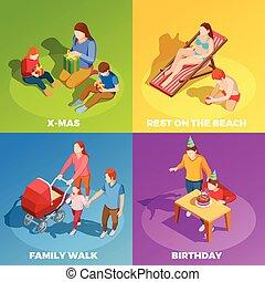 activités, isométrique, carrée, famille, icônes, 4