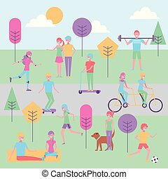 activités, parc, gens