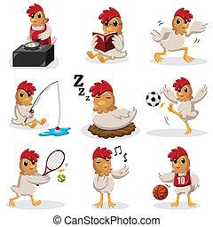 activités, poulet, différent, caractères