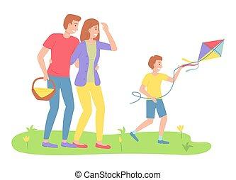 activités récréation, parents, famille, récréatif, cerf volant, chronométrer voler, regarder, fils, extérieur