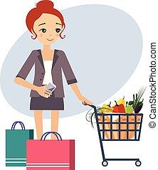 activités, shopping., women., illustration, vecteur, routine quotidienne