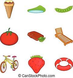 activités, style, extérieur, icônes, ensemble, dessin animé
