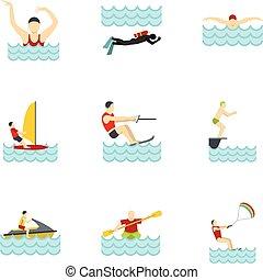 activités, style, icônes, ensemble, plat, eau