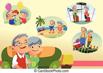activités, sur, retraite, pensée, couple, personne agee