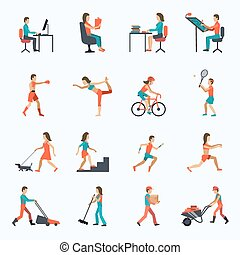 activiteit, lichamelijk, iconen