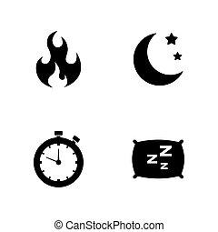activiteit, life., eenvoudig, verwant, vector, iconen