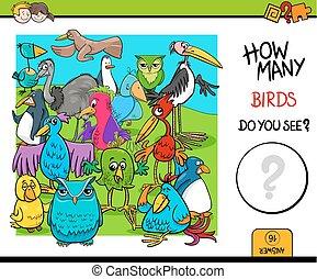 activiteit, onderwijs, telling, spel, vogels