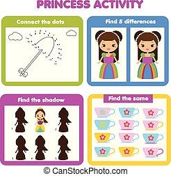 activiteit, pagina, voor, kids., onderwijs, kinderen, spel, set, voor, girls., prinsesje, thema