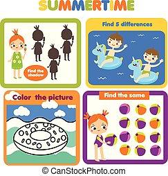 activiteit, pagina, voor, kids., onderwijs, kinderen, spel, set., zomervakantie, thema