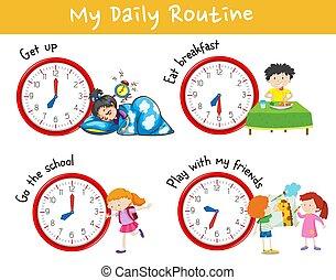 activiteit, tabel, het tonen, anders, dagelijks routine, van, geitjes
