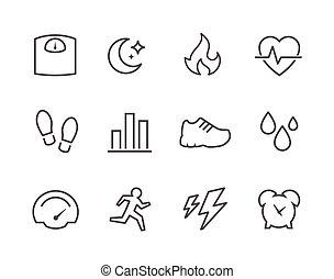 activiteit, tracking, iconen
