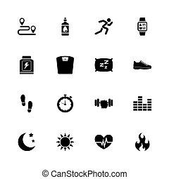 activiteit, tracking, -, plat, vector, iconen