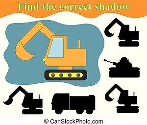 activiteit, voor, preschool, children., vinden, de, rechts, schaduw, van, excavator., vector, illustration.