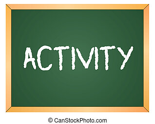 activiteit, woord, op, chalkboard