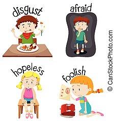 activiteiten, adjectives, set, kinderen