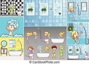 activiteiten, badkamer, geitjes, scènes, anders