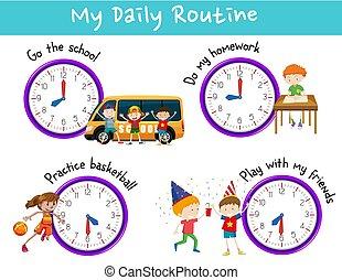 activiteiten, geitjes, routine, alledaags, klok