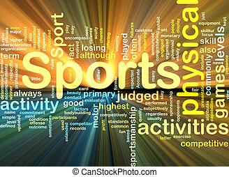 activiteiten, gloeiend, concept, achtergrond, sporten