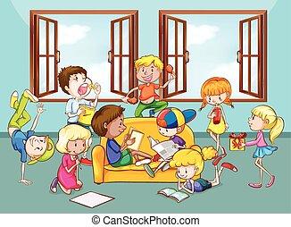 activiteiten, kinderen, kamer, levend