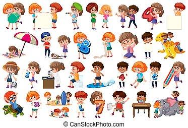 activiteiten, kinderen, witte , set, groot, achtergrond, anders