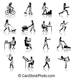 activiteiten, lichamelijk, black , iconen