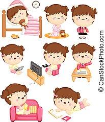 activiteiten, meisje, alledaags, thuis