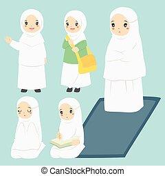 activiteiten, meisje, alledaags, vector, moslim, verzameling