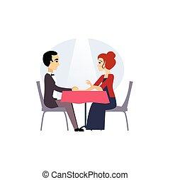 activiteiten, restaurant., women., illustratie, vector, dagelijks routine, datum