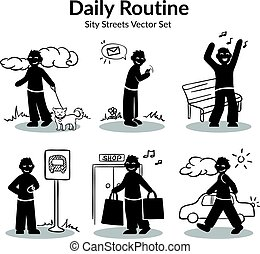 activiteiten, set, dagelijks routine