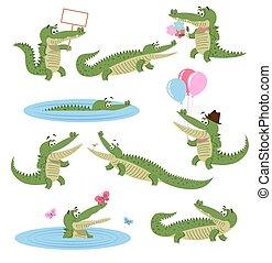 activiteiten, set., roofdier, alledaags, krokodil, spotprent