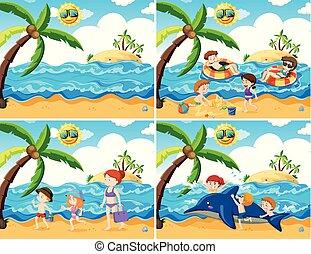 activiteiten, set, strand
