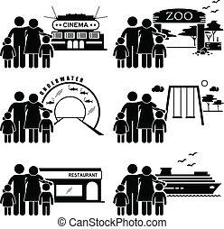 activiteiten, uitje, gezin, clipart