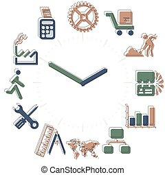 activiteiten, werkende , iconen, horloge, bol, time., hours.
