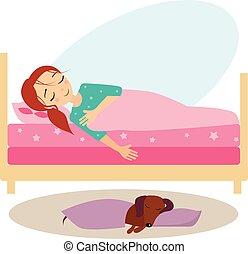 activiteiten, women., illustratie, sleeping., vector, dagelijks routine