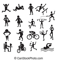 activities people over white background vector illustration