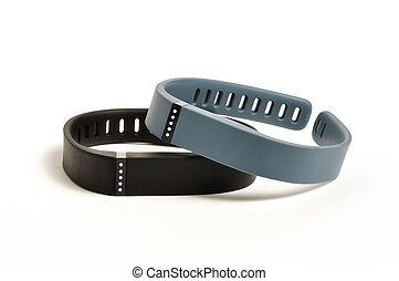 Activity fitness trackers on a white background