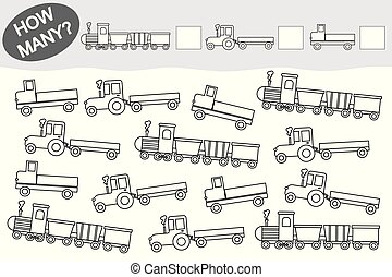 Activity for children. Educational game.  Count how many transport and color them.