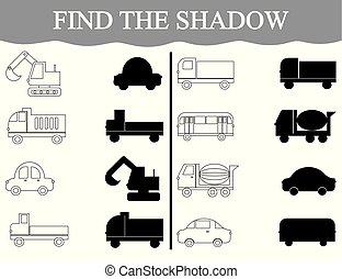 Activity for preschool children. Find the shadow and color the transport.