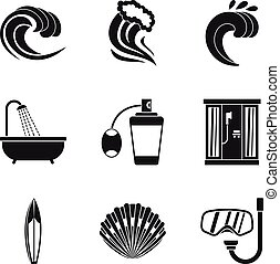Activity of water icons set, simple style