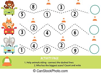 Activity page for children. Handwriting practice and...