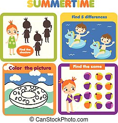 Activity page for kids. Educational children game set. Summer holidays theme