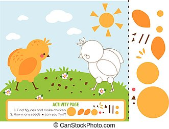 Activity page for kids with chicken. Educational children game. Counting and cutting. Learning shapes and mathematics.
