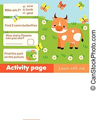 Activity page for kids with cow. Educational children game animals theme