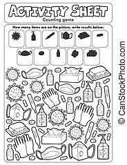 Activity sheet counting game 6 - eps10 vector illustration.