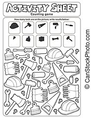 Activity sheet counting game 9 - eps10 vector illustration.